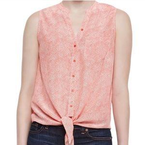 Joie 100% Silk Tie Front Sleeveless Top Size S